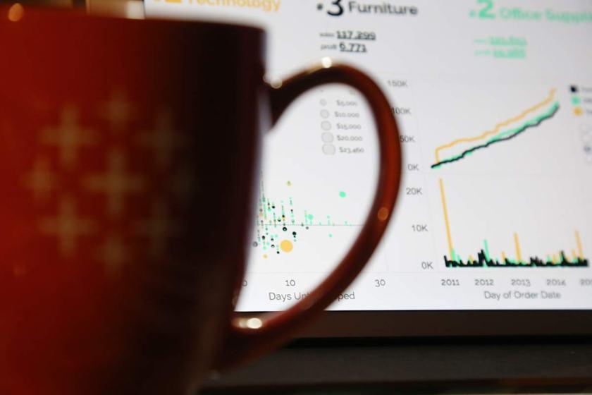 tableau coffee cup, and dashboard on ipad mini
