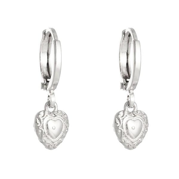 OORBELLEN ROMANTIC LOVE zilver.