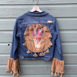 Bohemien jacket Buffalo hoofd-handmade- maat XL.
