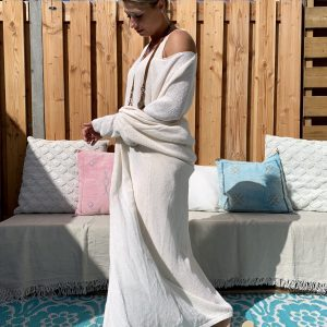 Gebreide Maxi vest Off White – one size.