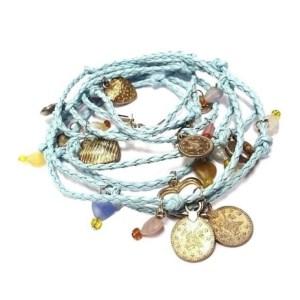 Wikkel Armband/ KETTING - blauw.