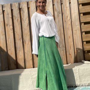 Celeste Katoen Blouse- one szie Groen kleur.