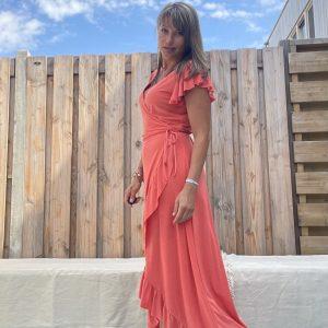 Lange omslag jurk -Coral kleur.