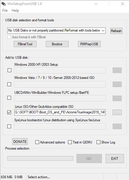 winsetupfromusb - Клонируем диски на старых ПК с помощью Acronis True Image grub4dos