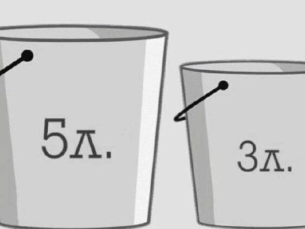 logic task 5 and 3 littres bottle 620x465 - Задача на логику — как отмерить 4 литра воды с помощью двух ведер на 3 и 5 литров