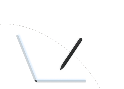 Illustration of a pen being used on a Surface Duo in laptop posture