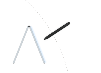 Illustration of a pen being used on a Surface Duo in tent posture