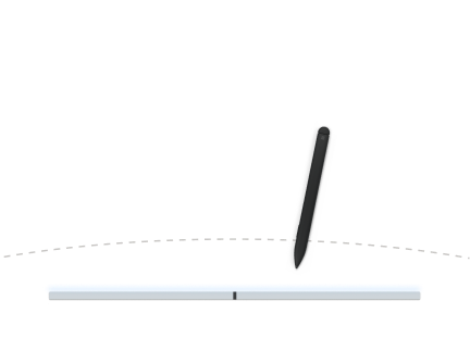 Illustration of a pen being used on a flat Surface Duo