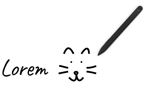 Illustrative text - Lorem - and drawing of a cat face