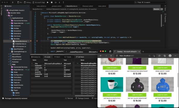 Screen shot of Visual Studio 2022 for Mac when debugging an ASP.NET Core project.