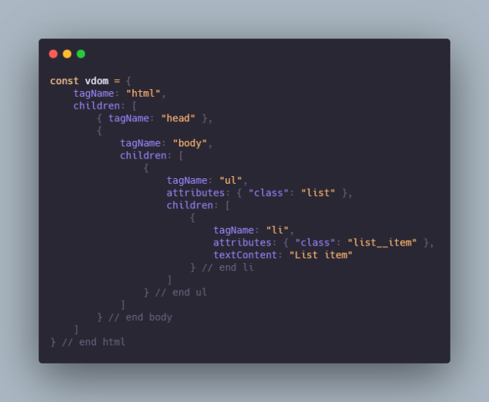 Virtual DOM Javascript object