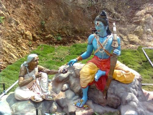 Shabari and Ram statues at Simhachalam, Andhra Pradesh.