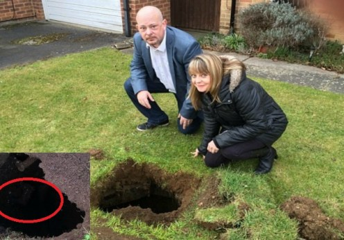 This couple was terrified to find a mysterious dark 7 foot hole with Iron steps while mowing their lawn