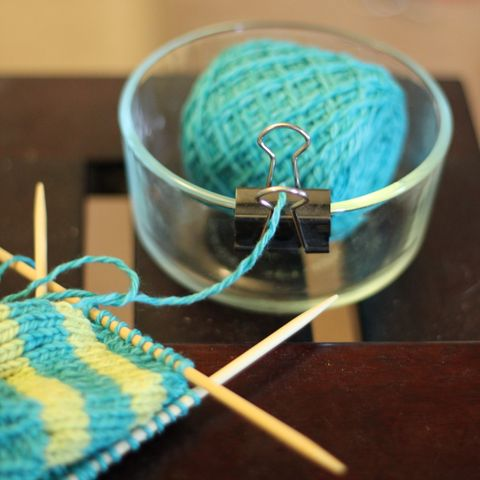 Knitting yarn bowl holder