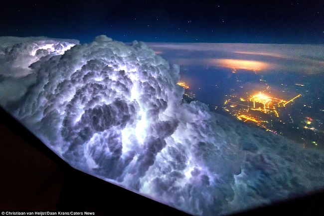 Thunderstorms within clouds