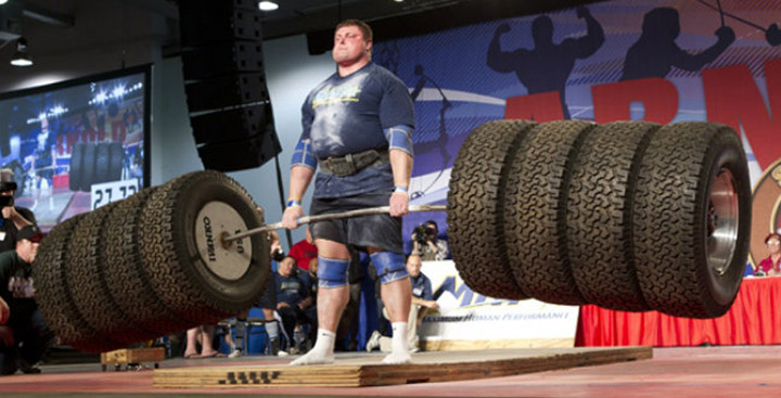 body builder could even lift that many tires