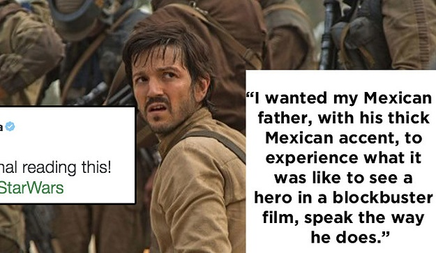 Star Wars hero Diego Luna responds emotionally when he sees a fan's post on tumblr