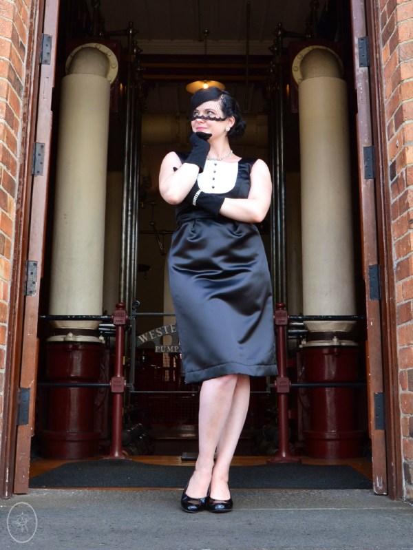 Mary-Rose in The Tuxedo Dress, Black Satin | Devel Women