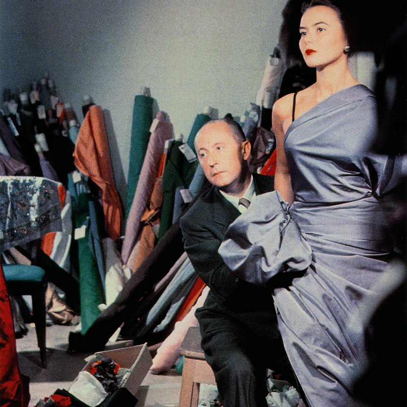 Designer Christian Dior Draping a New Dress Style on a Fit Model, c.1948