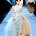 Baby Blue and Blush Ombre Tulle Strapless Wiggle Dress with Floor Length Bustle and White Appliqued Flowers by Dior 2011