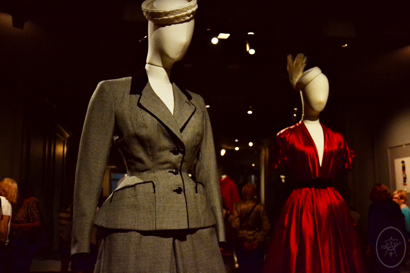 1940's Grey and Black Suit and Red Satin House Coat by Dior, at NGV International, Melbourne, Australia