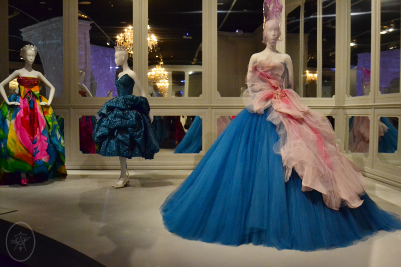 Bright floral voluminous Dior dresses in blue, pink and green, at NGV International, Melbourne, Australia