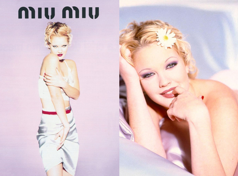 Drew Barrymore in pastel colours and daisies in her hair, by Ellen Von Unwerth c.1990's
