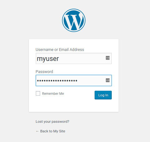 Wordpress install login form
