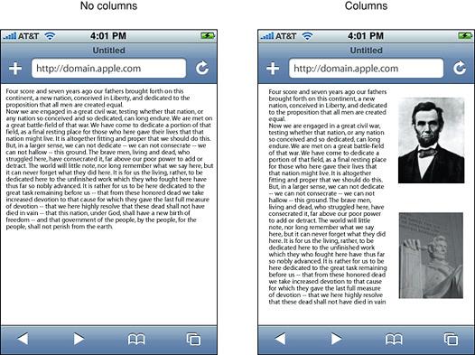 Comparison of no columns vs. columns