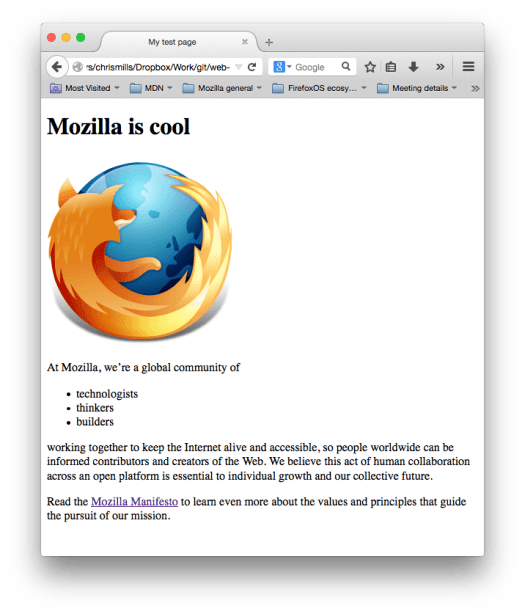 A web page screenshot showing a firefox logo, a heading saying mozilla is cool, and two paragraphs of filler text