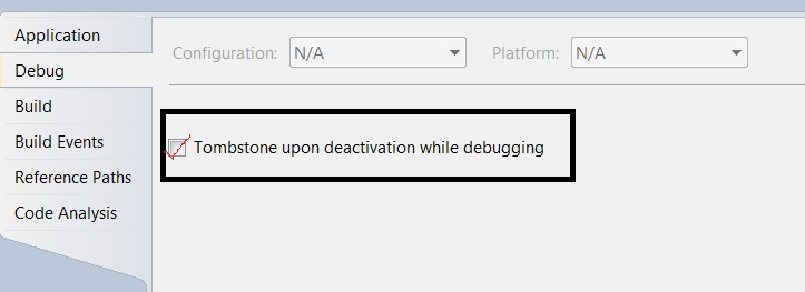 How to enable Windows Phone Application Tombstone in Emulator when Debugging ?