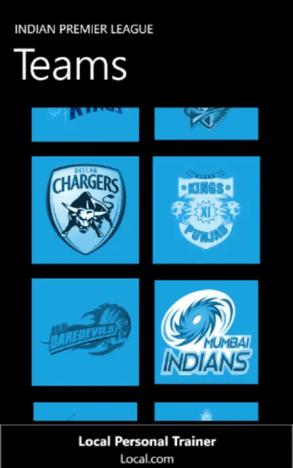 IPL 2012 App for Windows Phone
