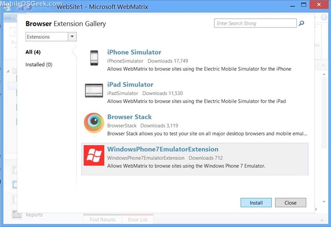 How to test your Website on Windows Phone Emulator in Microsoft Web
