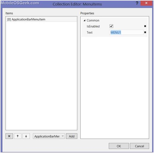 Creating Application Bar in Windows Phone Page via Designer in Visual Studio 2012