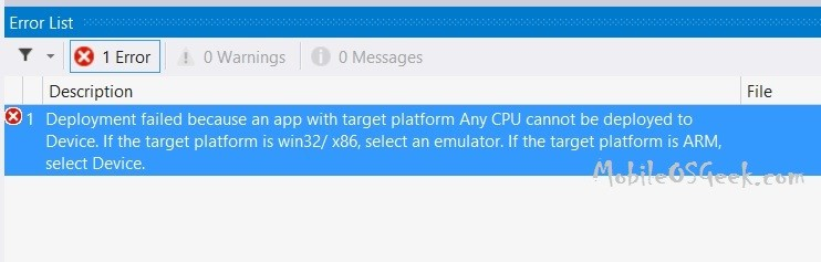 "Windows Phone - ""Deployment failed because an app with target platform Any CPU cannot be deployed to Device"" Error"