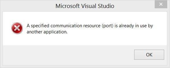 Visual Studio and WP8 Emulator Error - A specified communication resource (port) is already in use by another application.