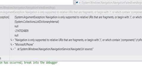 """""""Navigation is only supported to relative URIs that are fragments"""" Error in Windows Phone App"""