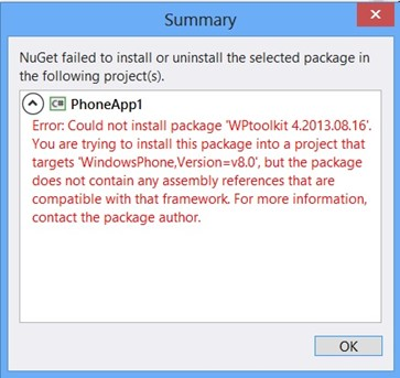 Error - You are trying to install this package does not contain any assembly references that are compatible with that framework