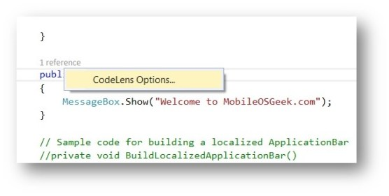 Visual Studio 2013 Tips & Tricks - Enable / Disable Code Lens