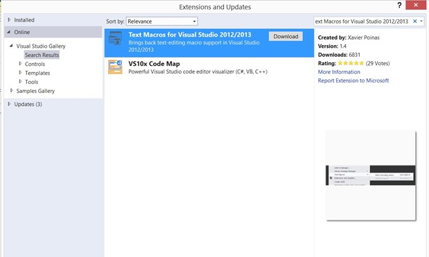 Text Macros for Visual Studio 2012/2013