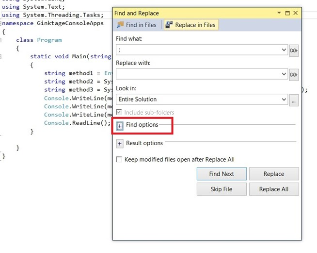 Visual Studio 2013 Tips & Tricks - Regular Expression in Find and Replace Dialog
