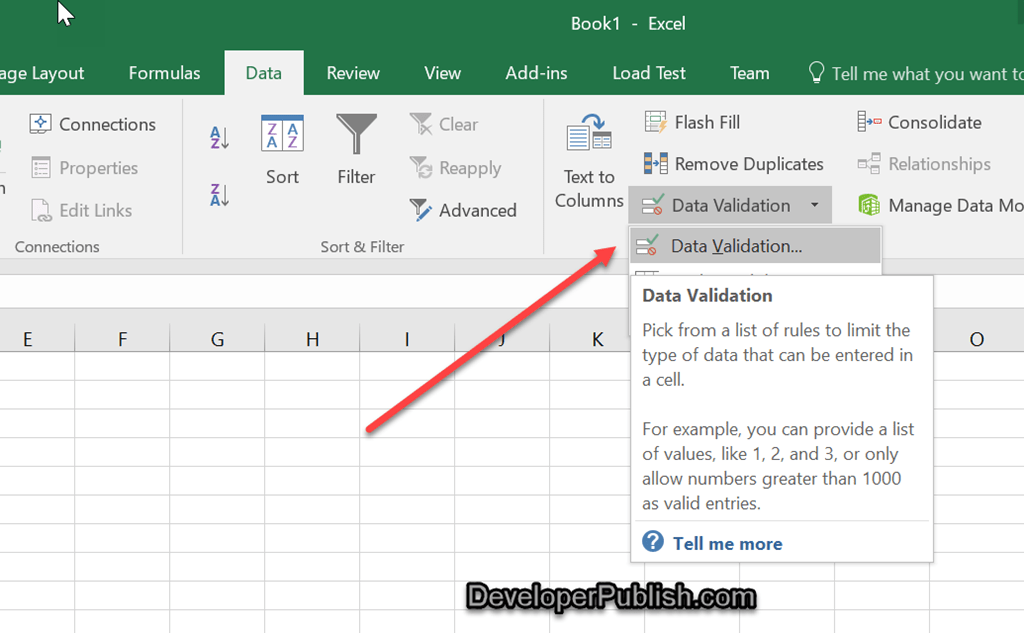Inserting the color coded drop-down list in Microsoft Excel
