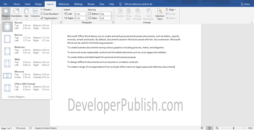 How to Change Margins in Word document?