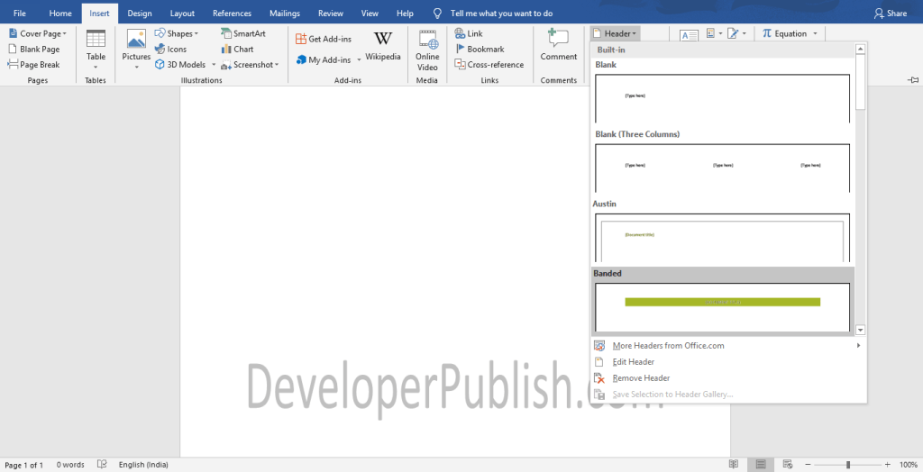 How to Insert header or footer in Word ?