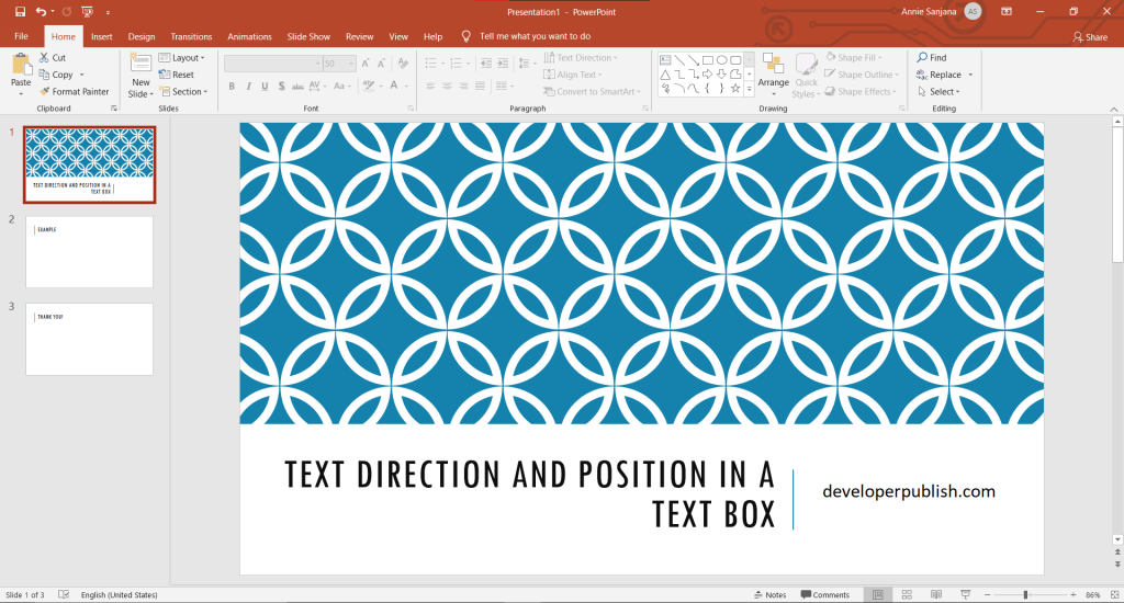 How to set Text Direction and position in a text box in PowerPoint?