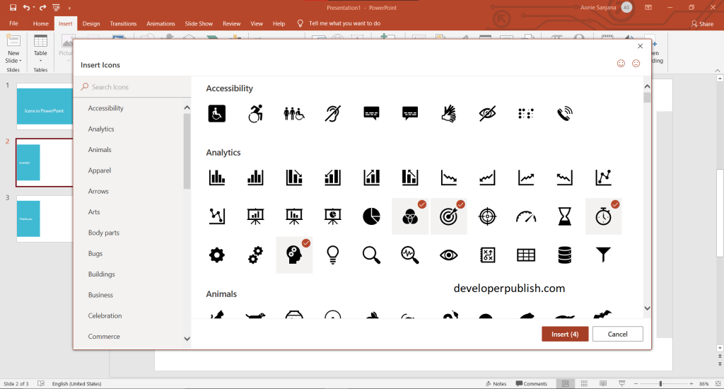 Insert Icons in PowerPoint