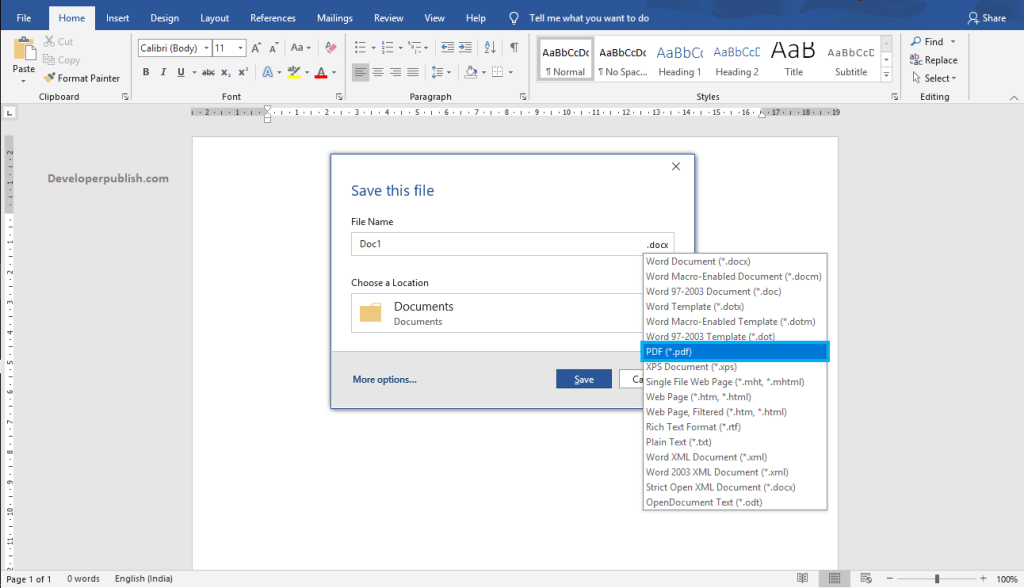 How to Save a document using Screen Reader in Word?