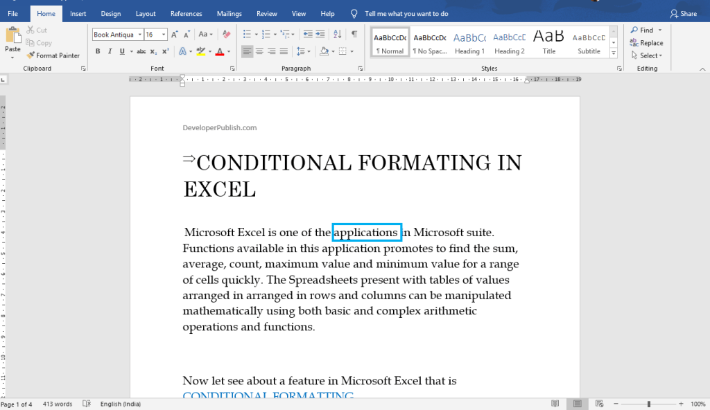 How to Read a document using Screen Reader in Word?