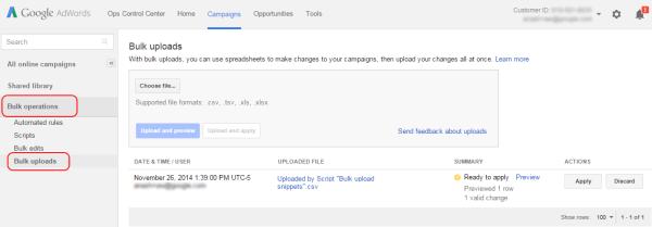 Bulk Upload | AdWords scripts | Google Developers