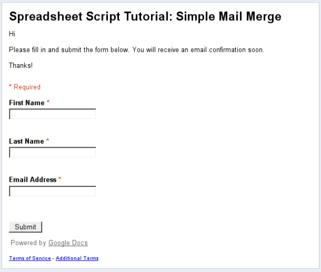 Submit Data To The Spreadsheet By Clicking On The Form Menu Then Go To Live Form Make Sure You Enter Your Own Email Address